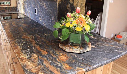 counter with flowers on top